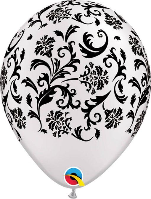 "11"" / 28cm Damask Print Asst of Pearl White, Pearl Onyx Black Qualatex #31471-1"