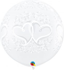 3' / 91cm Entwined Hearts Diamond Clear Qualatex #31496-1
