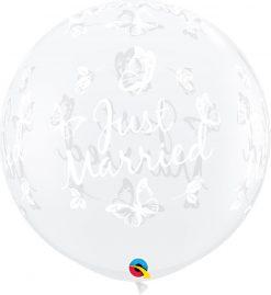3' / 91cm Just Married Butterflies-A-Round Diamond Clear Qualatex #31563-1