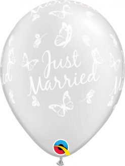 """11"""" / 28cm Just Married Butterflies-A-Round Pearl White Qualatex #31614-1"""