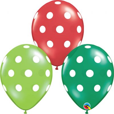 "11"" / 28cm Big Polka Dots Asst of Lime Green, Ruby Red, Emerald Green Qualatex #33231-1"