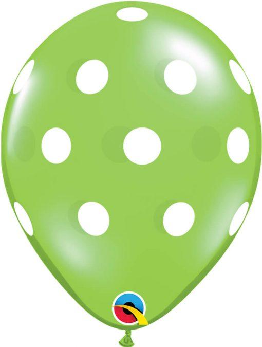 "11"" / 28cm Big Polka Dots Asst of Lime Green, Ruby Red, Emerald Green Qualatex #33231-1"