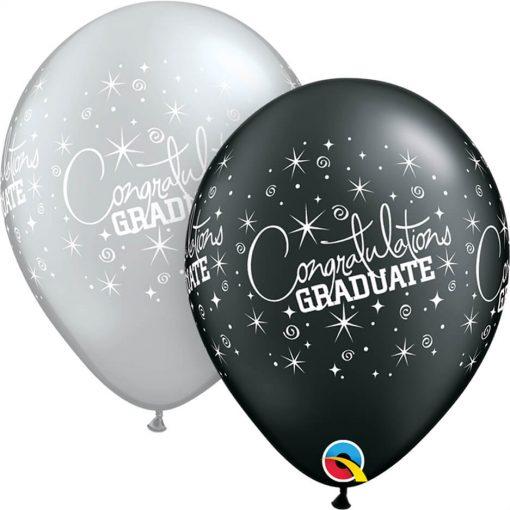 "11"" / 28cm Congratulations Graduate Asst of Silver, Onyx Black Qualatex #35200-1"