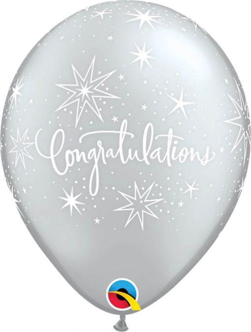 "11"" / 28cm Congratulations Elegant Asst of Silver, Onyx Black Qualatex #36989-1"