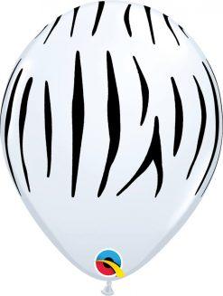 """11"""" / 28cm Zebra Stripes White Qualatex #37044-1"""