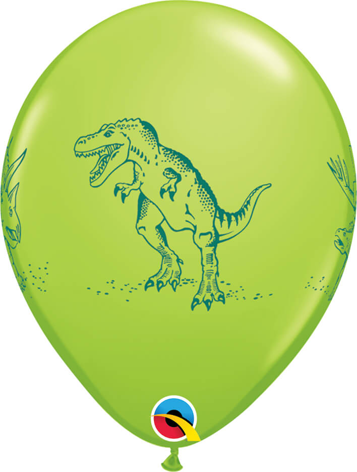 "11"" / 28cm Dinosaurs in Action Festive Asst Qualatex #37097-1"