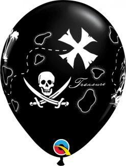 "11"" / 28cm Pirate's Treasure Map Onyx Black Qualatex #37234-1"