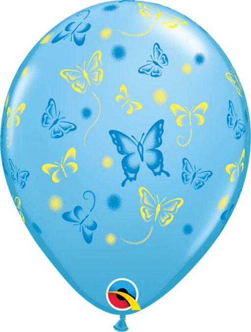 """11"""" / 28cm Butterflies Asst of Pale Blue, Pink, Lime Green, Yellow Qualatex #38428-1"""