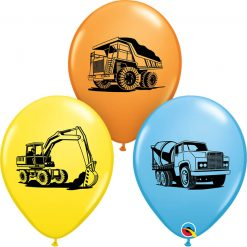 "11"" / 28cm Construction Trucks Asst of Pale Blue, Yellow, Orange Qualatex #38471-1"