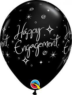 "11"" / 28cm Engagement Elegant Sparkles Asst of Silver, Onyx Black Qualatex #38852-1"