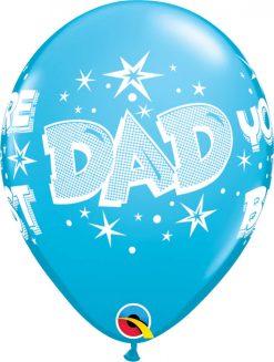 "11"" / 28cm Dad You're The Best Starbursts Asst of Dark Blue, Robin's Egg Blue Qualatex #41690-1"