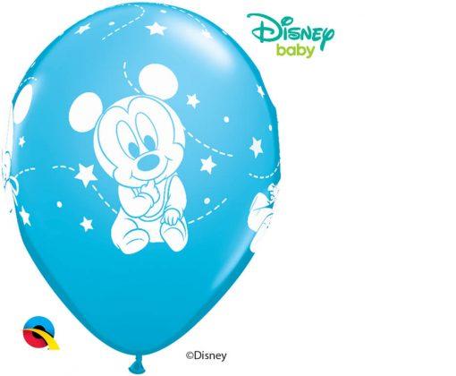 "11"" / 28cm Disney Mickey Mouse Baby Stars Asst of Pale Blue, Robin's Egg Blue Qualatex #42839-1"