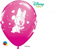 """11"""" / 28cm Disney Minnie Mouse Baby Hearts Asst of Wild Berry, Pink Qualatex #42843-1"""