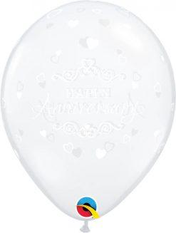 """11"""" / 28cm 6szt Anniversary Classic Hearts Diamond Clear Qualatex #43000"""