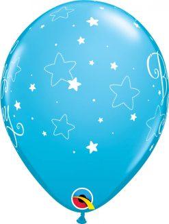 "11"" / 28cm 6szt Baby Boy Stars Robin's Egg Blue Qualatex #43001"