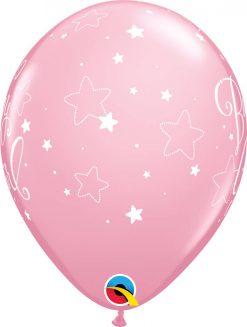 "11"" / 28cm 6szt Baby Girl Stars Pink Qualatex #43003"