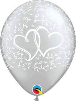 """11"""" / 28cm 6szt Entwined Hearts Silver Qualatex #43006"""