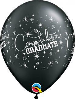 """11"""" / 28cm 6szt Congratulations Graduate Onyx Black Qualatex #43151"""