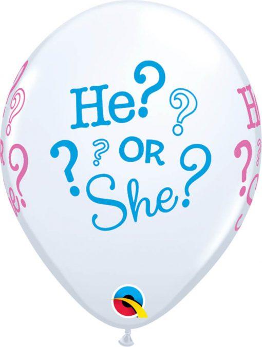"""11"""" / 28cm HE? OR SHE? White Qualatex #44790-1"""