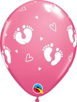 "11"" / 28cm Baby Footprints & Hearts Rose Qualatex #44793-1"
