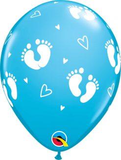"11"" / 28cm Baby Footprints & Hearts Robin's Egg Blue Qualatex #44794-1"