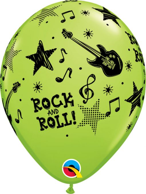 """11"""" / 28cm Rock And Rock Stars Asst of Red, Lime Green, Yellow, Robin's Egg Blue Qualatex #44795-1"""