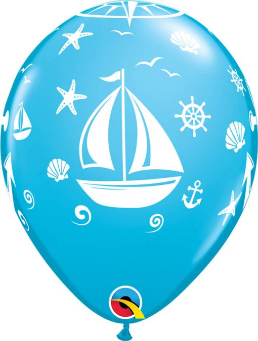 "11"" / 28cm Nautical Sailboat & Anchor Asst of Tropical Teal, Caribbean Blue, Robin's Egg Blue Qualatex #44796-1"
