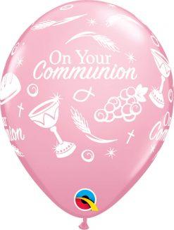 "11"" / 28cm Communion Symbols Pink Qualatex #44879-1"
