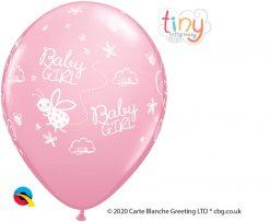 "11"" / 28cm Tiny Tatty Teddy Baby Girl Pink Qualatex #45369-1"