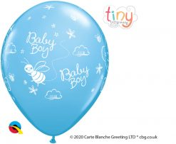 "11"" / 28cm Tiny Tatty Teddy Baby Boy Pale Blue Qualatex #45370-1"