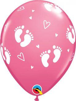 "11"" / 28cm 6szt Baby Footprints & Hearts Rose Qualatex #45651"