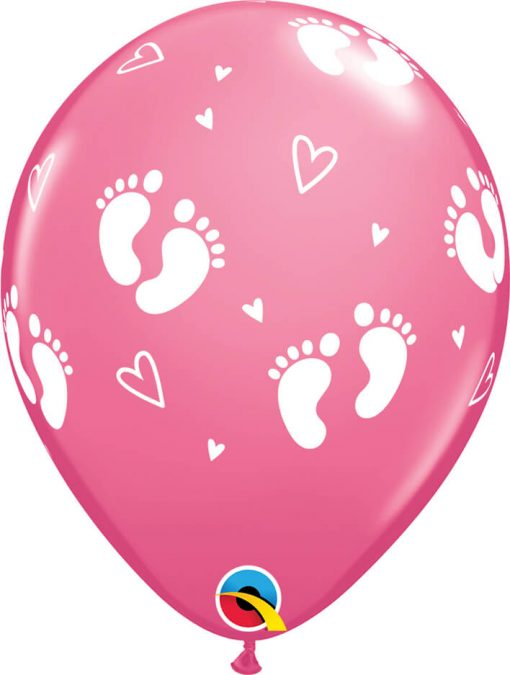 "11"" / 28cm 6szt Baby Footprints & Hearts Rose Qualatex #45651"