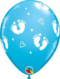 "11"" / 28cm 6szt Baby Footprints & Hearts Robin's Egg Blue Qualatex #45652"