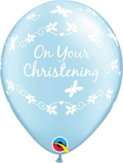 """11"""" / 28cm Christening Butterflies Pearl Light Blue Qualatex #46227-1"""