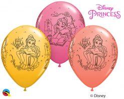 """11"""" / 28cm Disney Princess Belle Asst of Coral, Rose, Goldenrod Qualatex #46759-1"""