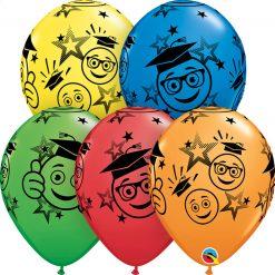 "11"" / 28cm Graduation Smileys Asst of Red, Yellow, Spring Green, Dark Blue, Orange Qualatex #48367-1"
