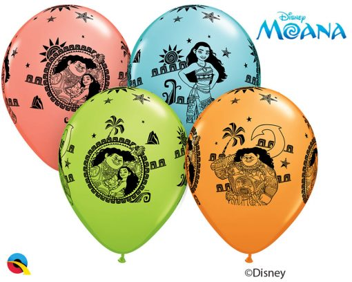 "11"" / 28cm Disney Moana & Maui Asst of Coral, Lime Green, Caribbean Blue, Orange Qualatex #48724-1"