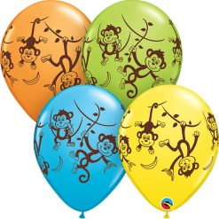 """11"""" / 28cm Mischievous Monkeys Asst of Lime Green, Yellow, Orange, Robin's Egg Blue Qualatex #49276-1"""