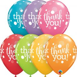"11"" / 28cm Thank You Dots Upon Dots Festive Asst Qualatex #50206-1"