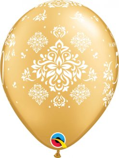"11"" / 28cm 50th Anniversary Damask Gold Qualatex #50214-1"