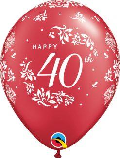 "11"" / 28cm 40th Anniversary Damask Pearl Ruby Red Qualatex #50216-1"