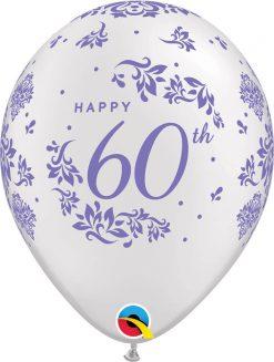 "11"" / 28cm 60th Anniversary Damask Pearl White Qualatex #50218-1"