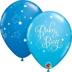 "11"" / 28cm Baby Boy Stars Asst of Dark Blue, Robin's Egg Blue Qualatex #51787-1"