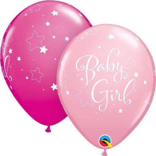 "11"" / 28cm Baby Girl Stars Asst of Wild Berry, Pink Qualatex #51814-1"