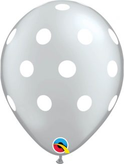 "11"" / 28cm Big Polka Dots Silver Qualatex #52956-1"