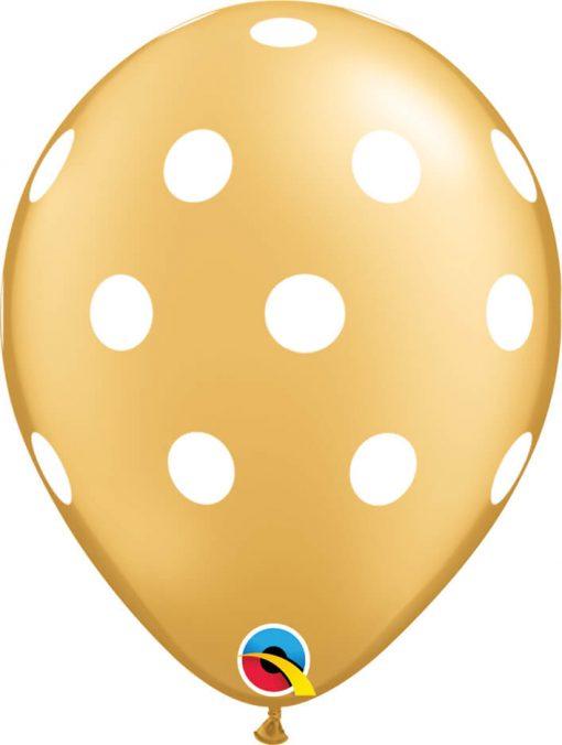 "11"" / 28cm Big Polka Dots Gold Qualatex #52958-1"