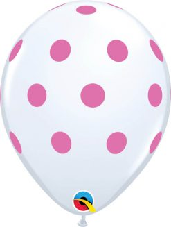 "11"" / 28cm Big Polka White w/Pink Ink Qualatex #52966-1"