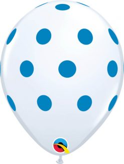 "11"" / 28cm Big Polka White w/Blue Ink Qualatex #52967-1"