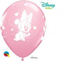 "12"" / 30cm 6szt Disney Baby Minnie Hearts Pink Qualatex #53548"