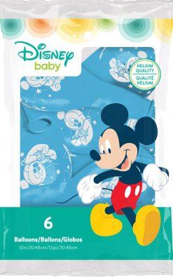 "12"" / 30cm 6szt Disney Baby Mickey Stars Pale Blue Qualatex #53550"